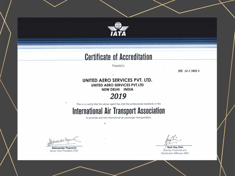 IATA CERTIFICATE