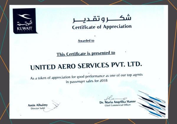 KUWAIT AIRWAYS CERTIFICATE OF APPRECIATION
